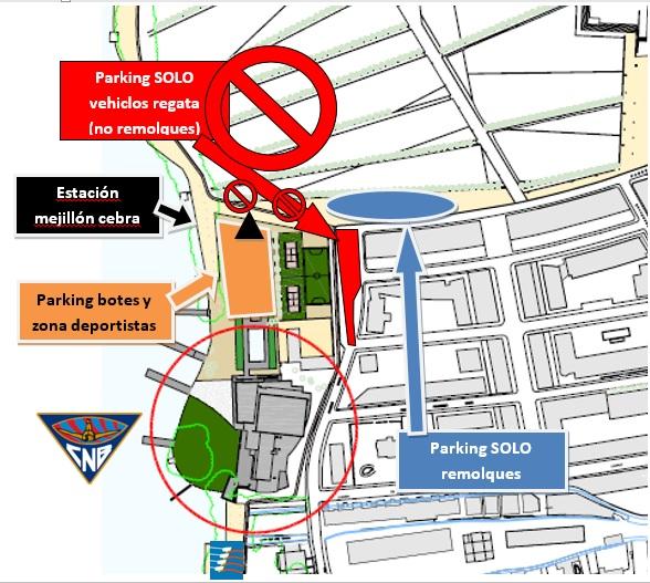 Plano de parking de botes, remolques, acceso y estacion mejillon cebra