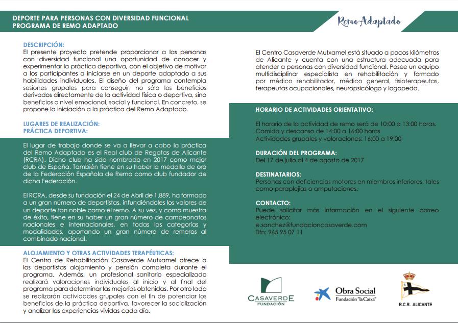 Programa Deporte para Personas con Diversidad Funcional Fundacion Casaverde